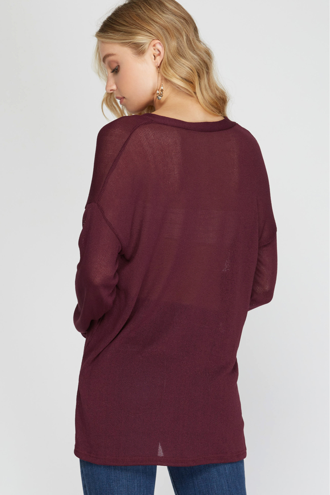 She and Sky LONG SLEEVE VNECK HI LOW KNIT TOP - Front Full Image