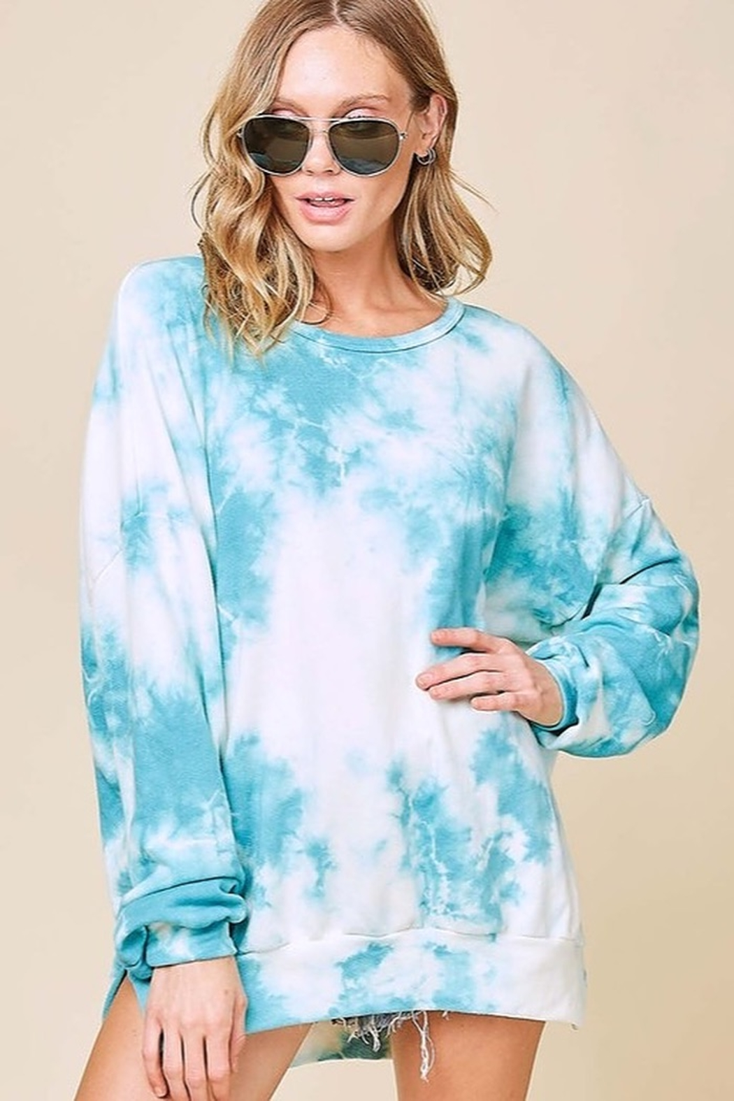 Fantastic Fawn Long Sleeve Washed Tie Dye French Terry Sweatshirt - Main Image