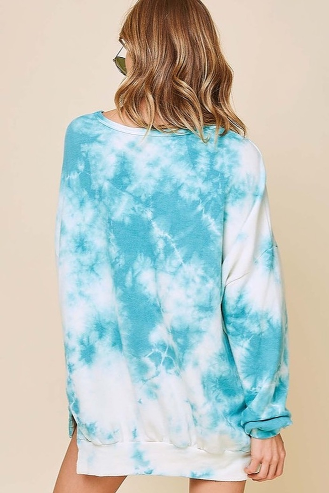 Fantastic Fawn Long Sleeve Washed Tie Dye French Terry Sweatshirt - Front Full Image
