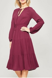 Promesa Long-Sleeve Wine Dress - Product Mini Image