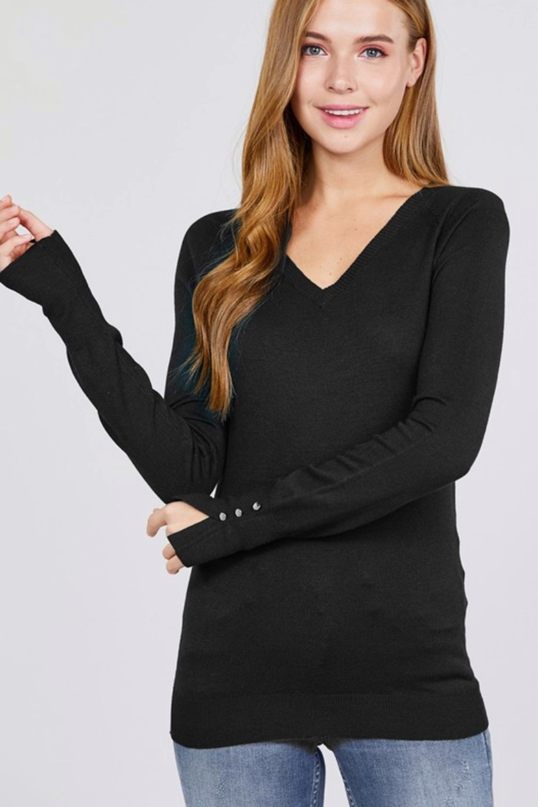 Active Basic Long Sleeve with Button Detail Sweater - Main Image