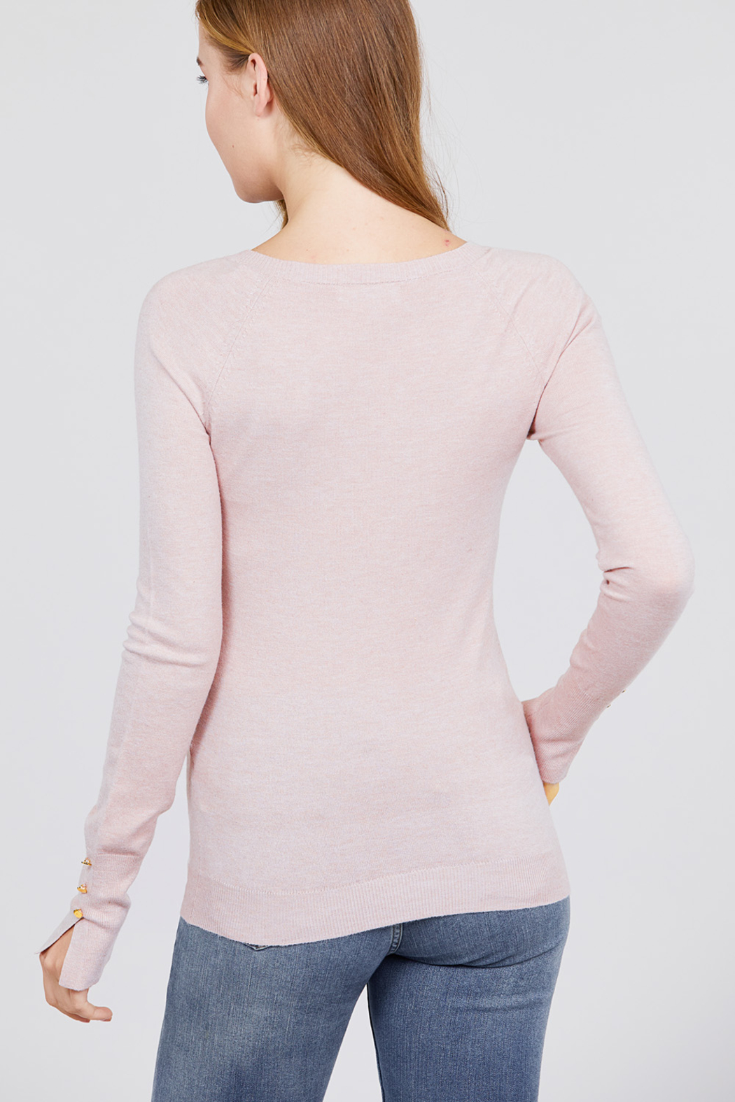Active Basic Long Sleeve with Button Detail Sweater - Front Full Image