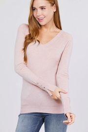 Active Basic Long Sleeve with Button Detail Sweater - Front cropped