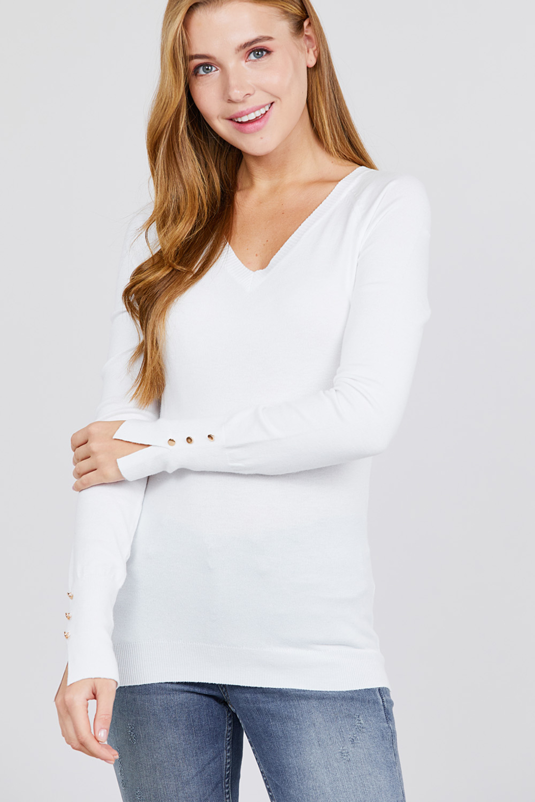 Active Basic Long Sleeve with Button Detail Sweater - Front Cropped Image