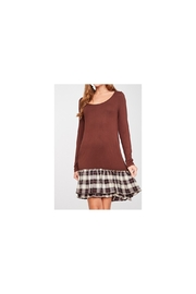 LLove Long sleevebrown knit dress with plaid ruffle - Product Mini Image