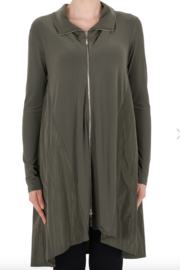 Joseph Ribkoff Long Sleeved Full Zipper Tunic in Avocado - Product Mini Image