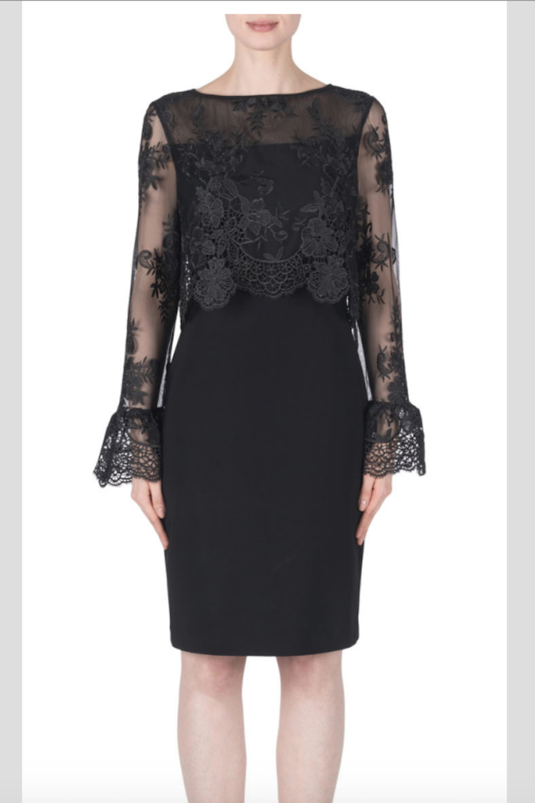 Joseph Ribkoff Long Sleeved Lace Dress - Front Cropped Image