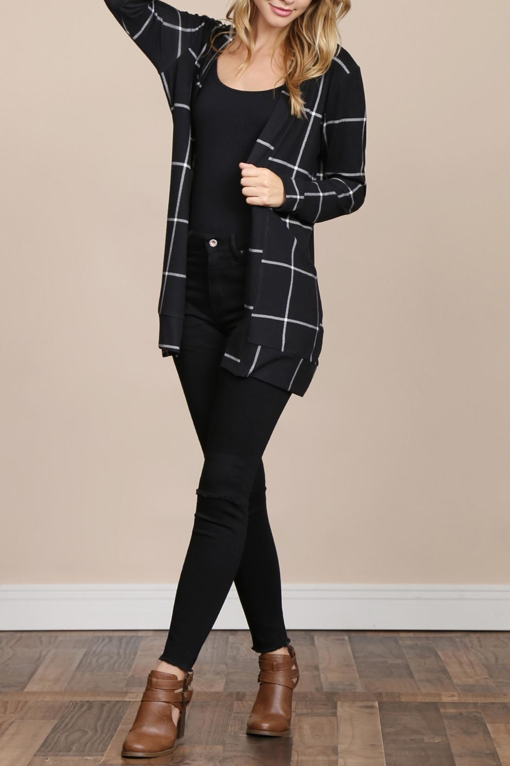 Riah Fashion Long-Sleeved-Open-Front Plaid Cardigan - Side Cropped Image