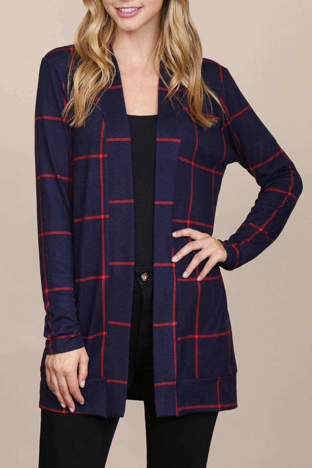 Riah Fashion Long-Sleeved-Open-Front Plaid Cardigan - Main Image