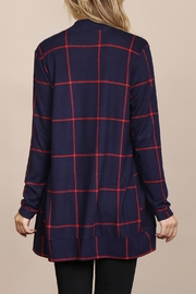 Riah Fashion Long-Sleeved-Open-Front Plaid Cardigan - Other