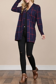 Riah Fashion Long-Sleeved-Open-Front Plaid Cardigan - Front full body