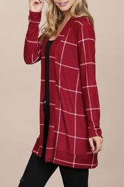 Riah Fashion Long-Sleeved-Open-Front Plaid Cardigan - Side cropped