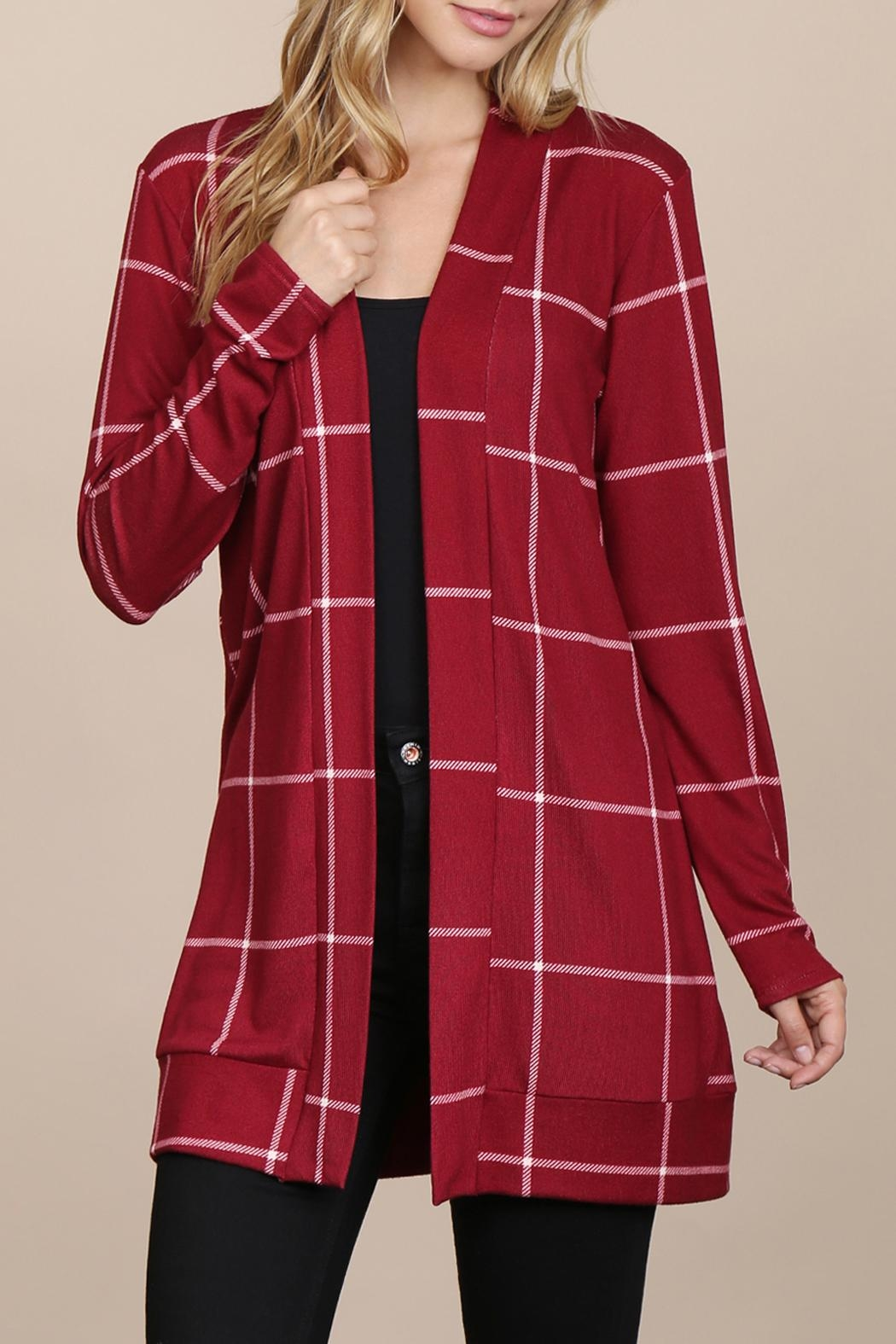Riah Fashion Long-Sleeved-Open-Front Plaid Cardigan - Front Cropped Image