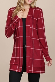 Riah Fashion Long-Sleeved-Open-Front Plaid Cardigan - Front cropped