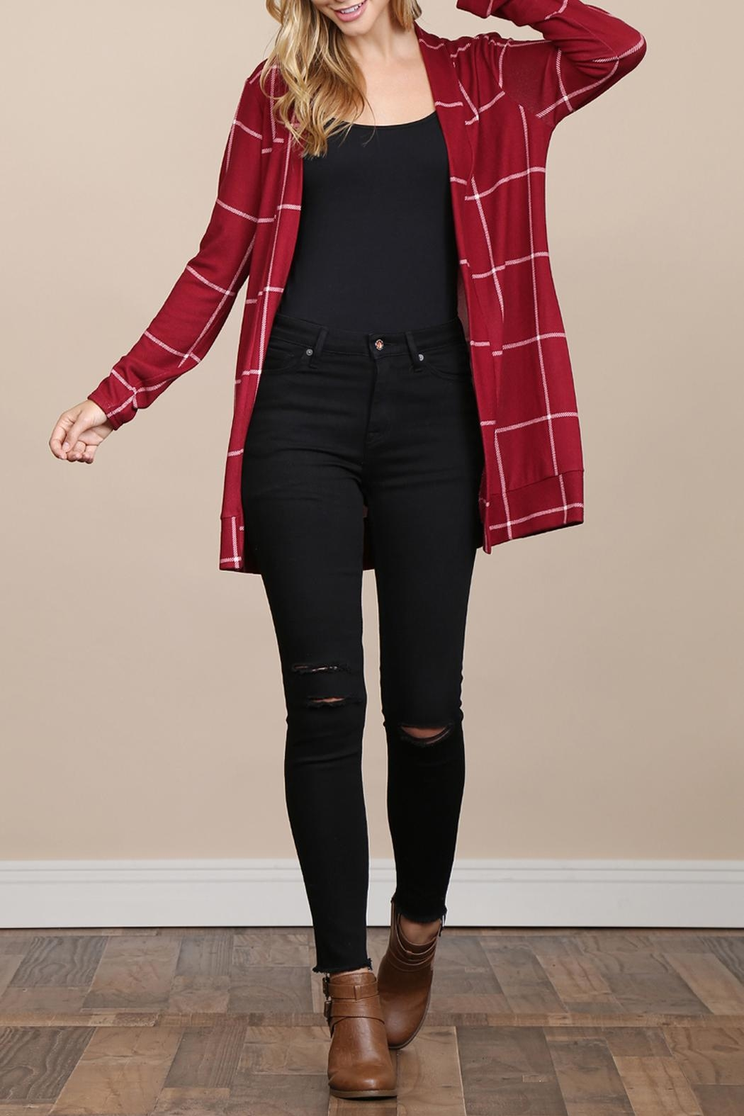 Riah Fashion Long-Sleeved-Open-Front Plaid Cardigan - Front Full Image