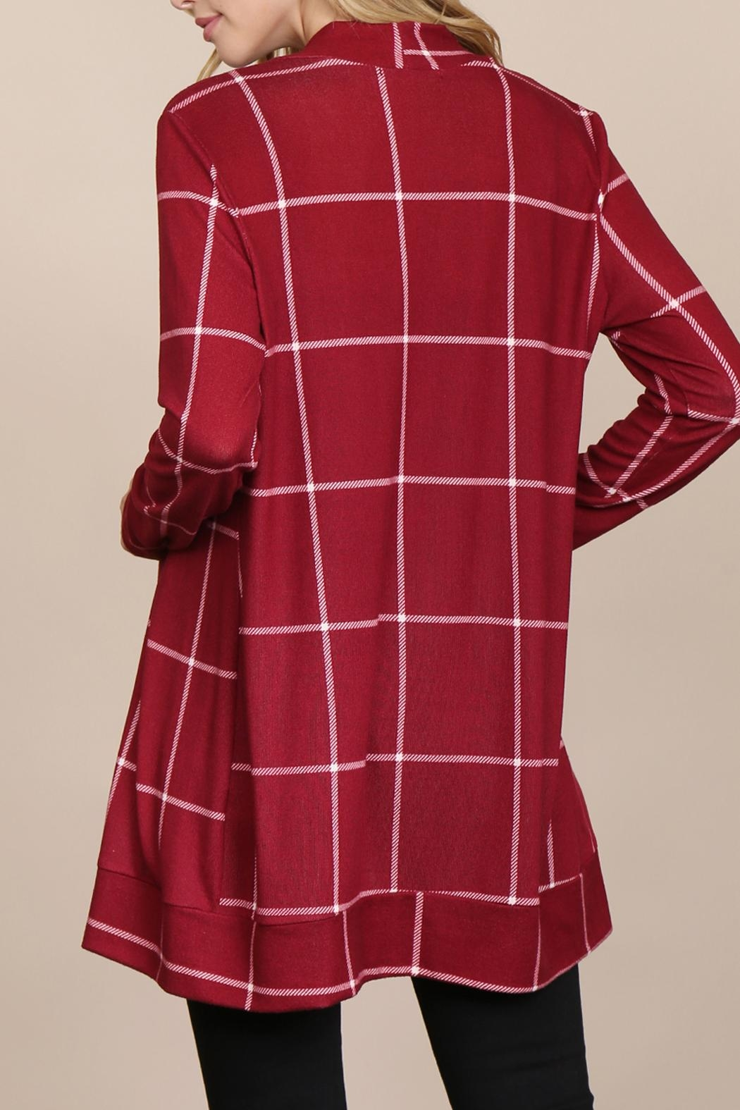 Riah Fashion Long-Sleeved-Open-Front Plaid Cardigan - Back Cropped Image