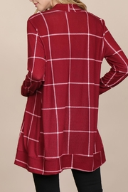 Riah Fashion Long-Sleeved-Open-Front Plaid Cardigan - Back cropped