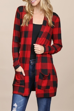 Shoptiques Product: Long-Sleeved-Red-&-Black-Plaid Pocket Cardigan