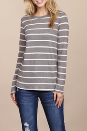 Riah Fashion Long-Sleeved-Round-Neck-Striped Waffle Top - Product Mini Image