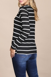 Riah Fashion Long-Sleeved-Round-Neck-Striped Waffle Top - Side cropped