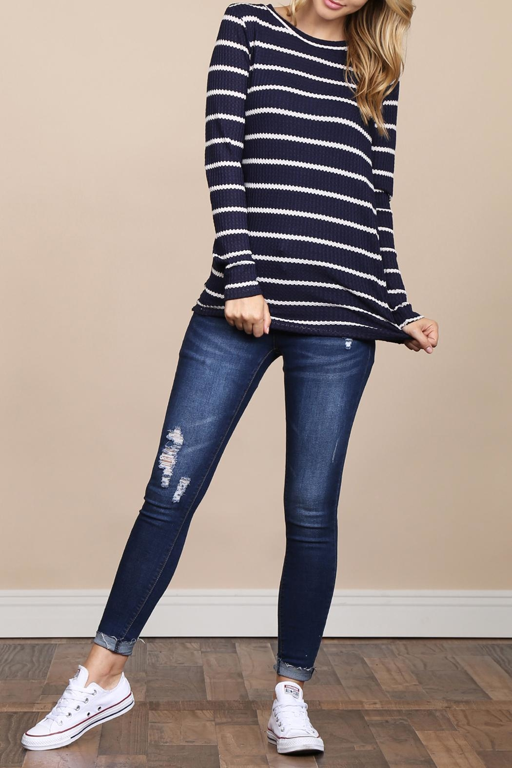 Riah Fashion Long-Sleeved-Round-Neck-Striped Waffle Top - Side Cropped Image