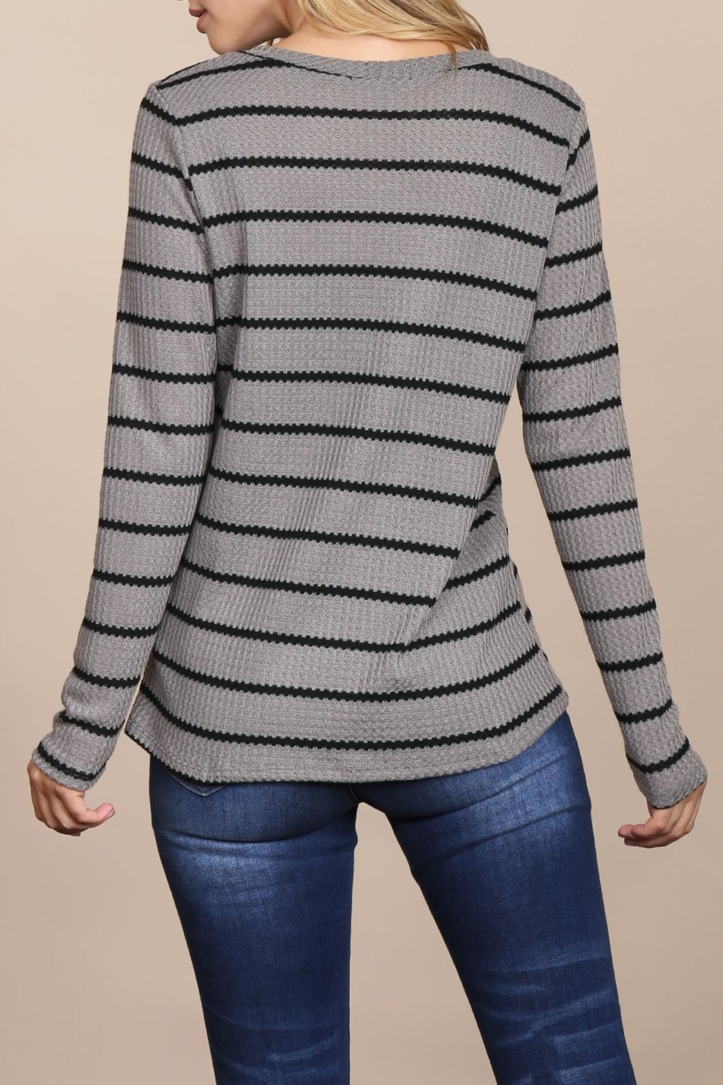 Riah Fashion Long-Sleeved-Round-Neck-Striped Waffle Top - Back Cropped Image