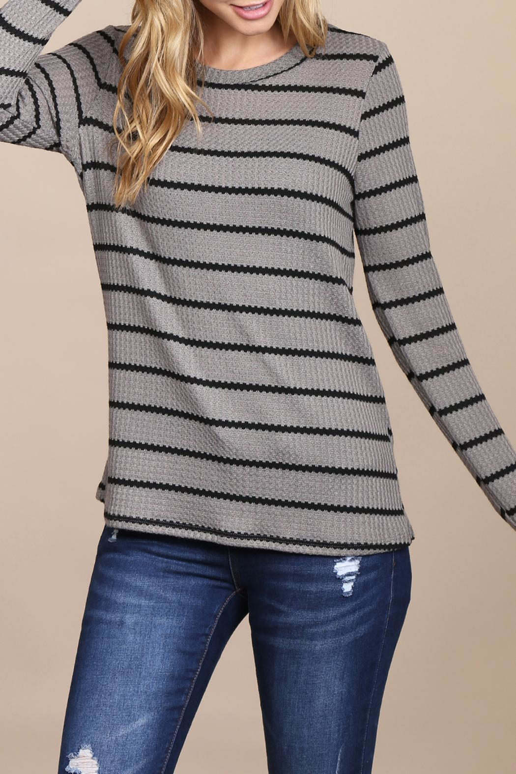 Riah Fashion Long-Sleeved-Round-Neck-Striped Waffle Top - Front Full Image
