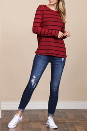 Riah Fashion Long-Sleeved-Round-Neck-Striped Waffle Top - Front full body