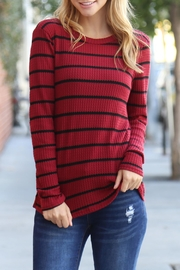 Riah Fashion Long-Sleeved-Round-Neck-Striped Waffle Top - Other
