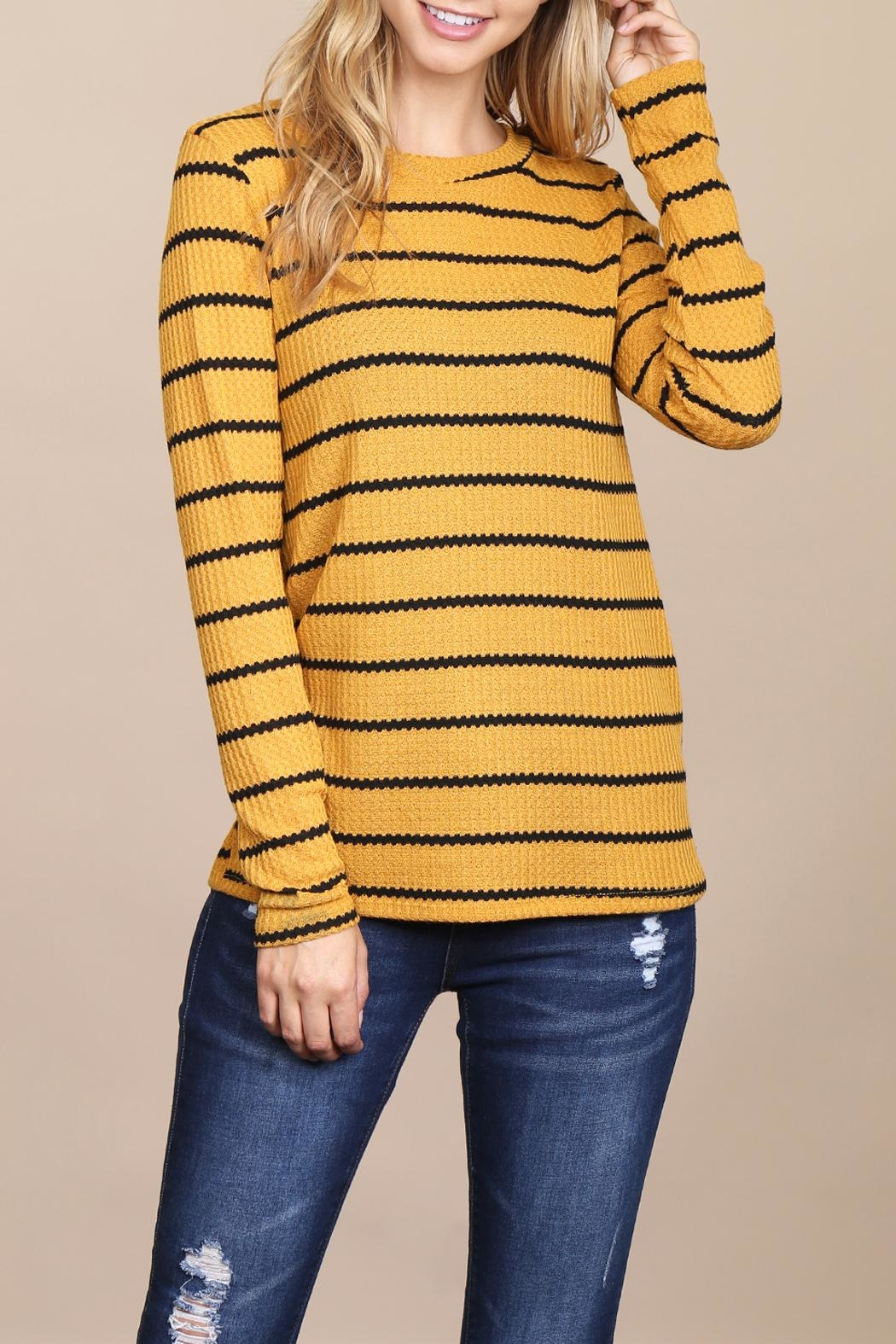 Riah Fashion Long-Sleeved-Round-Neck-Striped Waffle Top - Front Cropped Image