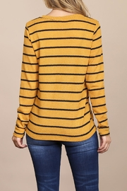 Riah Fashion Long-Sleeved-Round-Neck-Striped Waffle Top - Back cropped