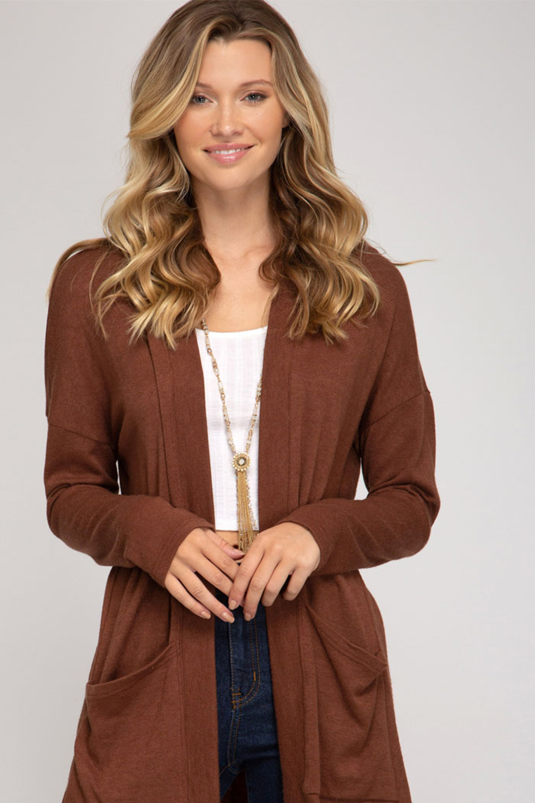 She and Sky LONG SLV LOW GAGE CARDIGAN W/ PKTS - Main Image