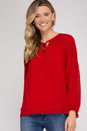 She and Sky LONG SLV PLEATED TOP - Product Mini Image
