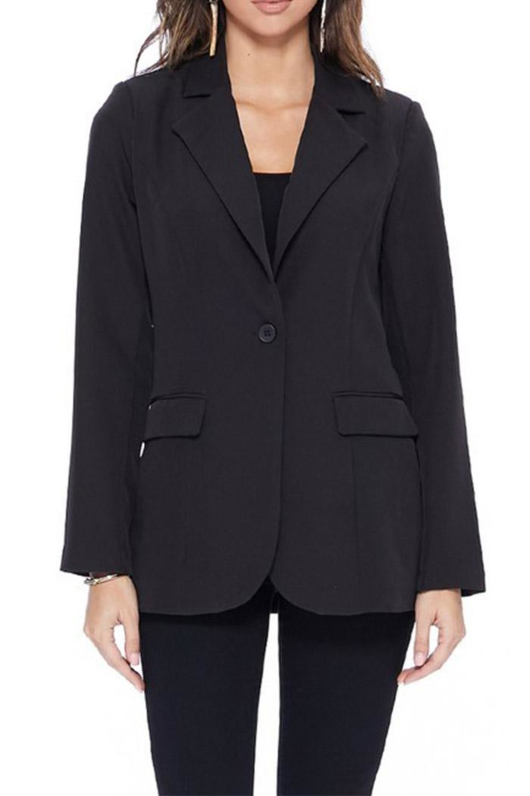 MICHEL Long Solid Blazer - Main Image