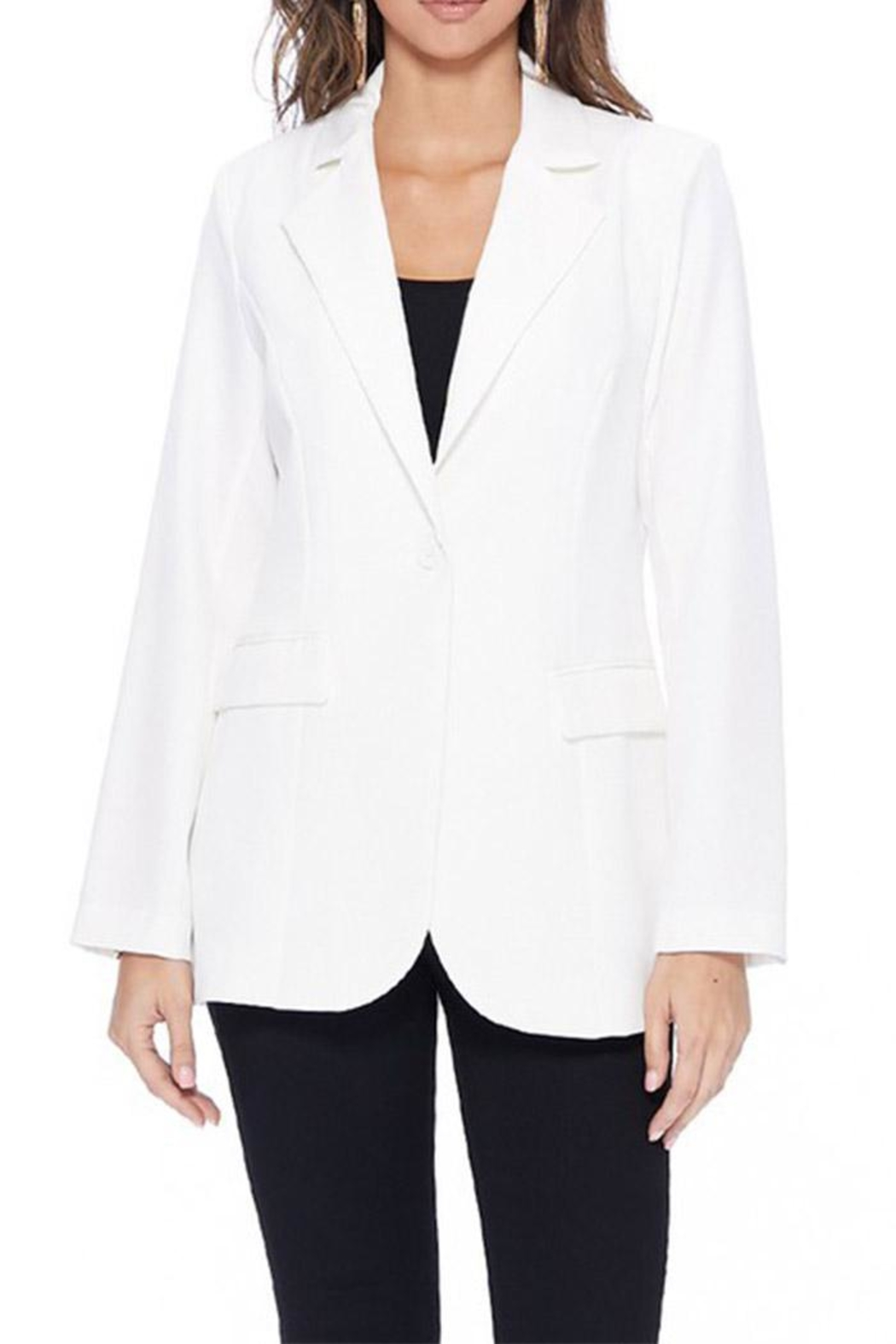 MICHEL Long Solid Blazer - Front Cropped Image