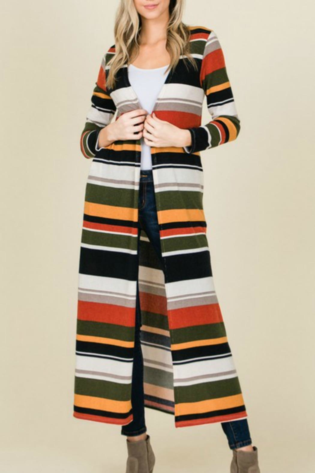 American Fit Long Striped Cardigan - Main Image