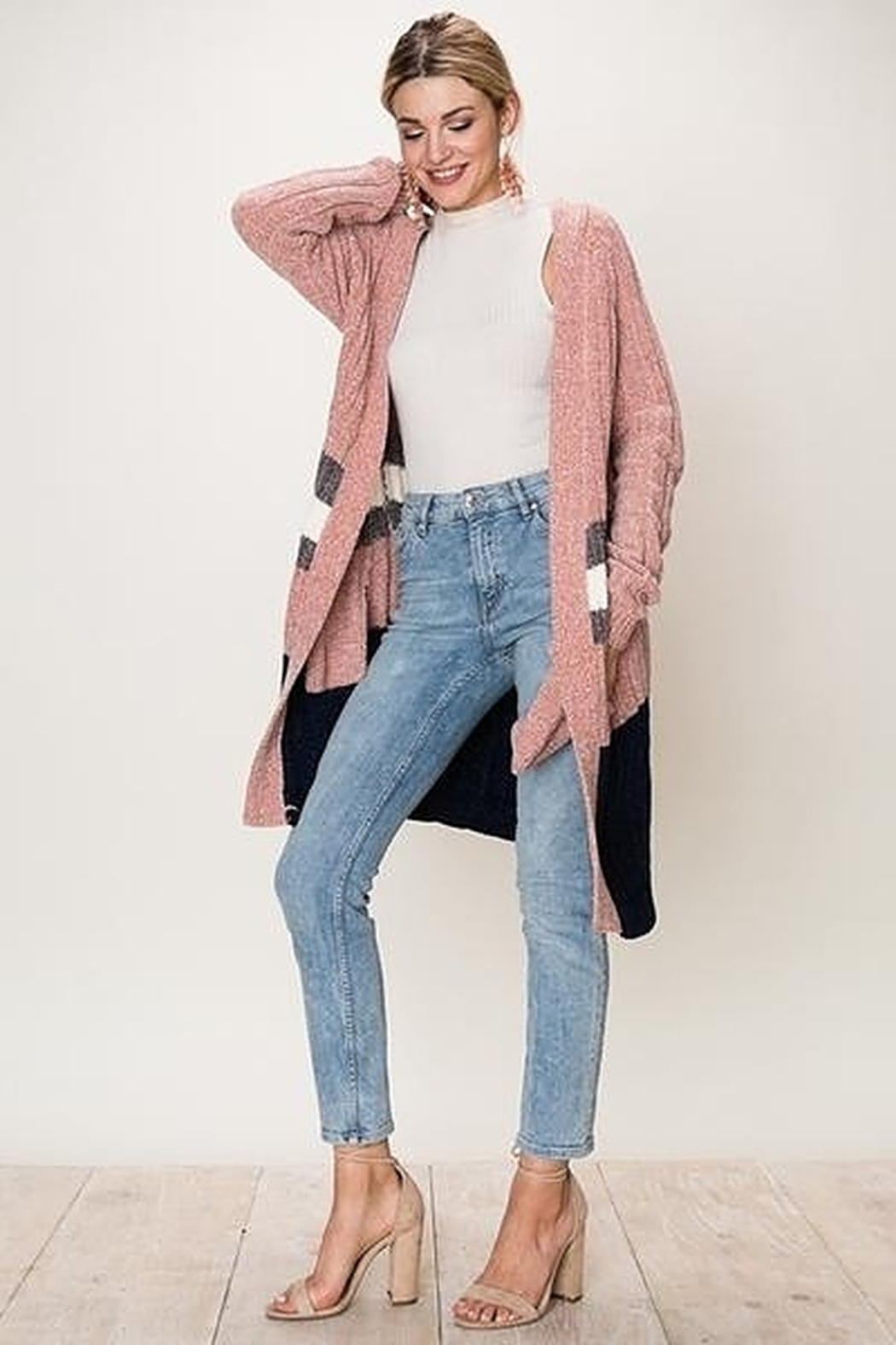 fashion on earth Long Striped Cardigan - Main Image