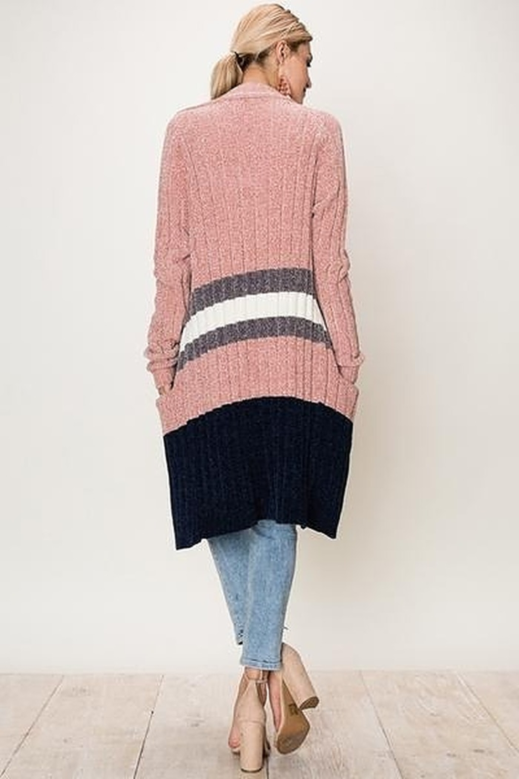 fashion on earth Long Striped Cardigan - Front Full Image