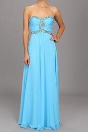 Faviana Long Turquoise Dress - Front full body