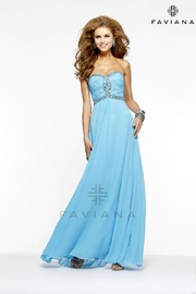 Faviana Long Turquoise Dress - Front cropped
