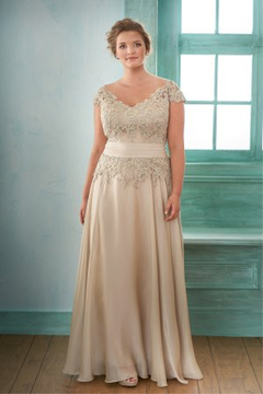 Jade Long V-neck Chiffon & Lace MOB dress - Alternate List Image