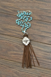 JChronicles Longhorn-Pendant Faux-Suede-Tassel Turquoise-Necklace - Product Mini Image