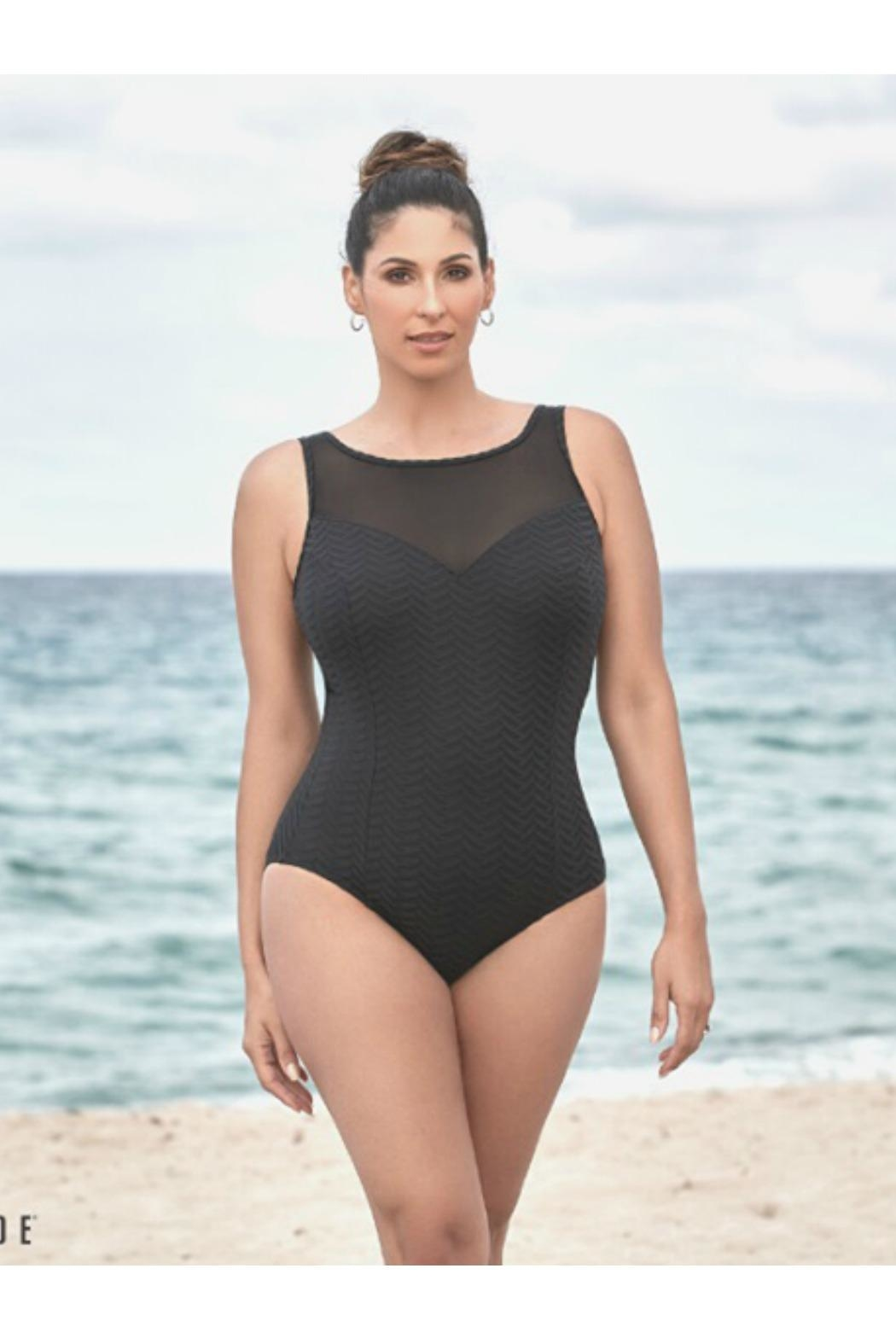 Longitude Swimwear Mesh Highneck Swimsuit - Back Cropped Image