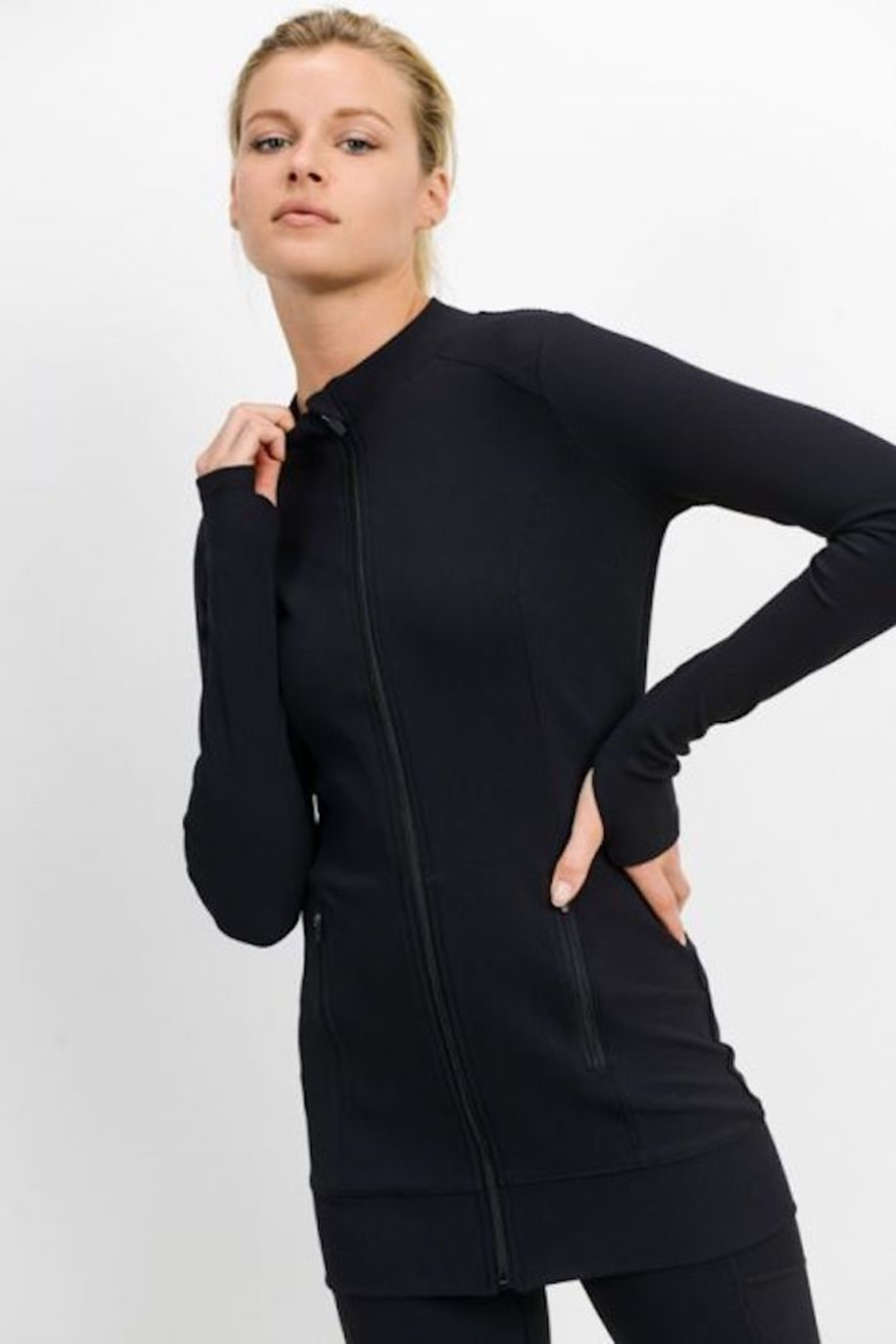 Mono B Longline All Over Ribbed Jacket - Side Cropped Image