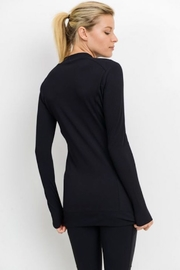 Mono B Longline All Over Ribbed Jacket - Front full body