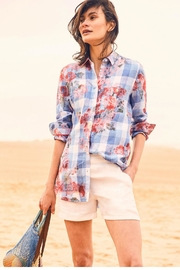 Joules Longline Linen Shirt - Front cropped