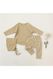 Quincy Mae Longsleeeve Baby Tee And Drawstring Pant Set - Honey Sun - Product Mini Image