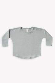 Quincy Mae Longsleeve Baby Tee in Dusty Blue - Product Mini Image