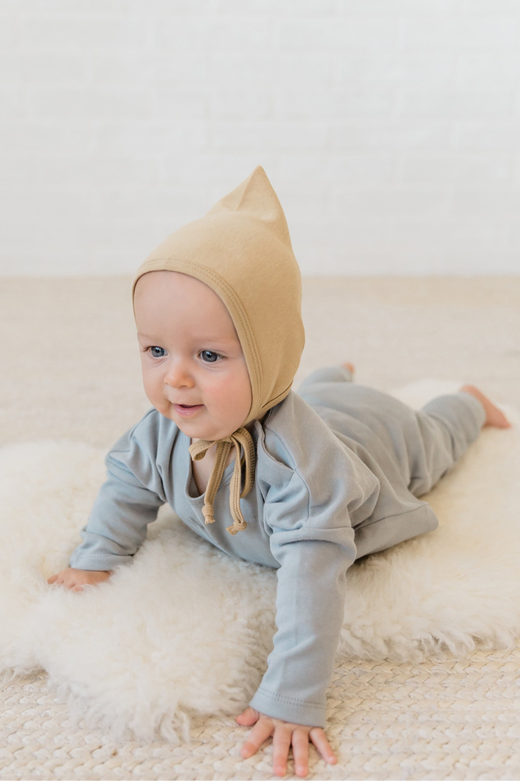 Quincy Mae Longsleeve Baby Tee in Dusty Blue - Front Full Image