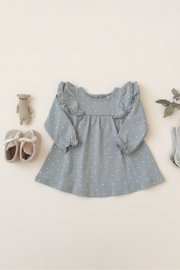 Quincy Mae Longsleeve Flutter Dress in Dusty Blue - Product Mini Image